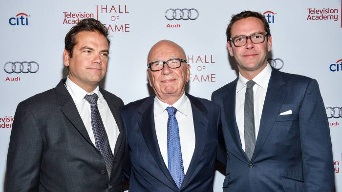 Lachlan and James Murdoch with their father Rupert