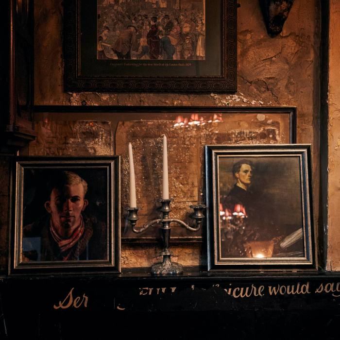 The pub is filled with antiques and old paintings