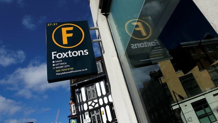 A Foxtons sign in Marylebone, central London