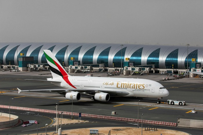 An Airbus A380-800 aircraft, operated by Emirates, taxis at Dubai International Airport