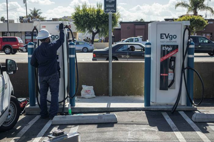 An electric vehicle charging station in LA. Joe Biden is promising to electrify the US transportation sector by installing new charging points, upgrading the grid and deploying more battery storage capacity
