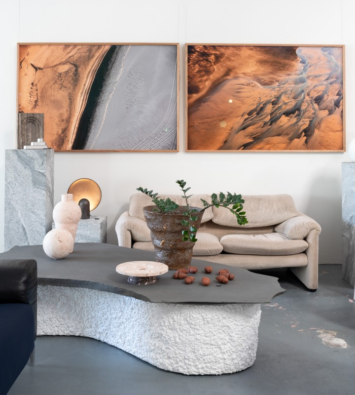 Mineral Matter X and Mineral Matter IV by Brooke Holm, from about £1,079, hang above a vintage Maralunga sofa by Vico Magistretti