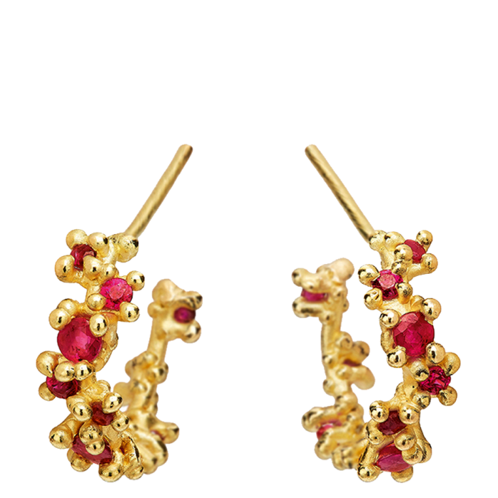 Ruth Tomlinson gold and ruby Hoop earrings, £1,200