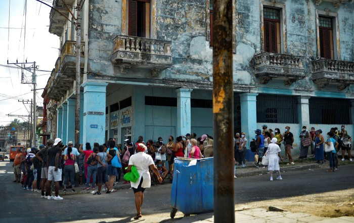 Cubans queue to buy food in Havana in May. Díaz-Canel has admitted that food imports stand at just a quarter of 2019 levels