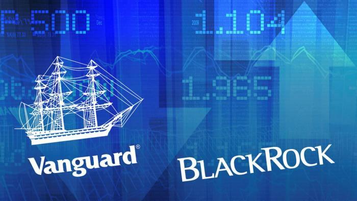 Logos of Vanguard and BlackRock