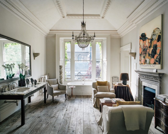 The elegant bathroom is one of Uniacke's favourite rooms