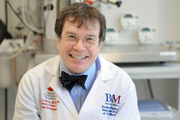 Peter Hotez, a professor at the Baylor College of Medicine, says the development of a vaccine should not be viewed as a manufacturing problem