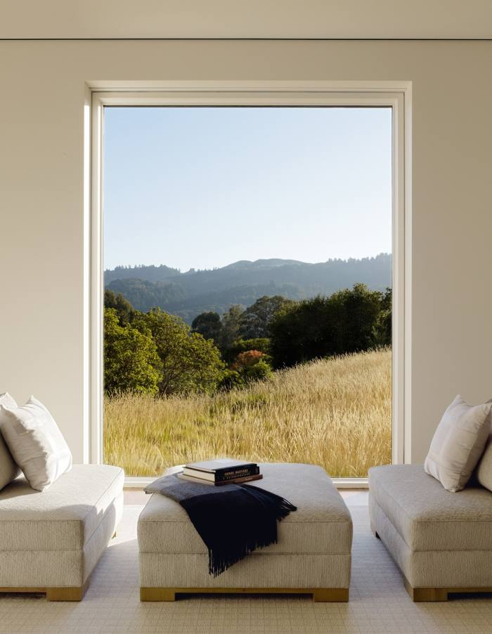 A countryside view in the Portola Valley barn conversion by Walker Warner Architects