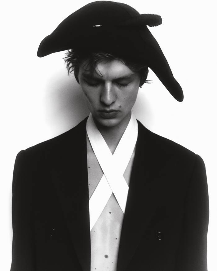 Leon wears Ralph Lauren wool/silk handmade tailcoat tuxedo, £7,700. Felt hat, stylist's own