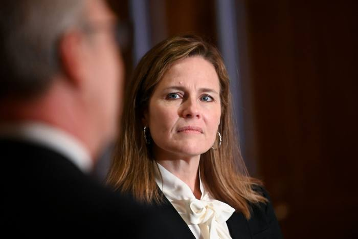 Amy Coney Barrett, Trump's nominee for the Supreme Court, in Washington this month. 'Barrett's confirmation would escalate the already existing nuclear arms race between liberals and conservatives. It cannot end in a good place,' warns Norman Ornstein, a leading scholar of US politics
