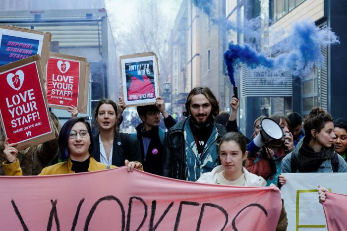 University staff and students demonstrating over pensions in London last year