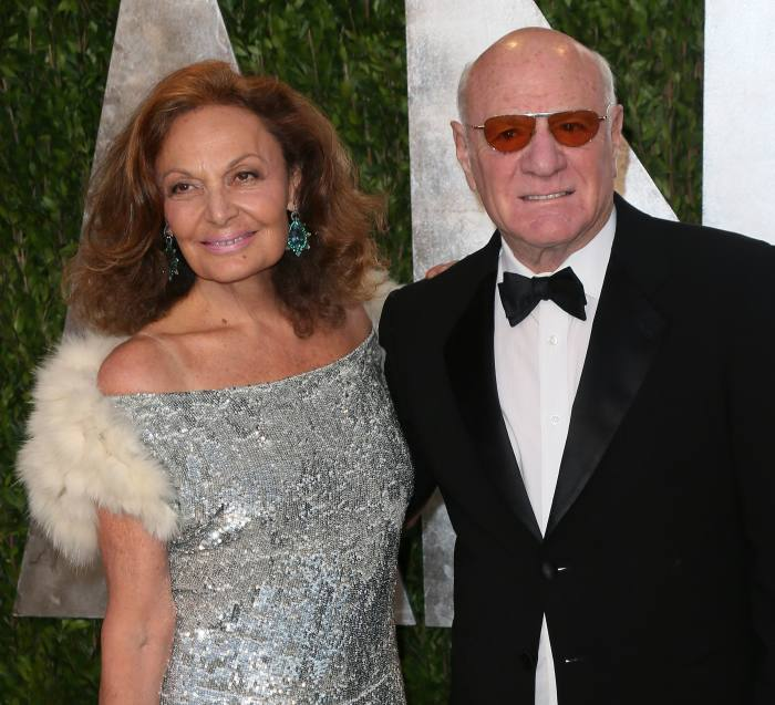 With her husband Barry Diller in West Hollywood, 2013
