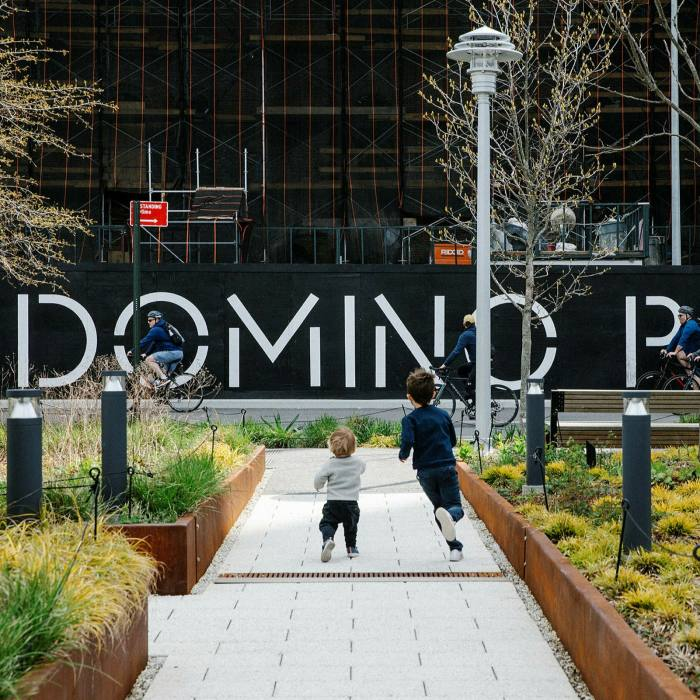 Ride by Domino park, the site of an old sugar factory...