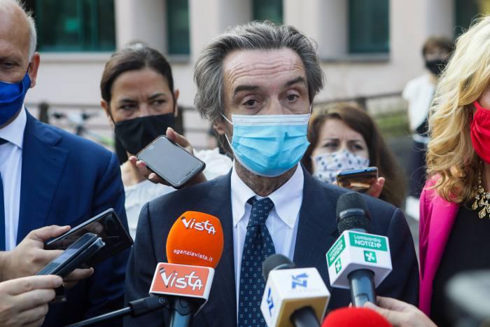 Attilio Fontana, regional governor of Lombardy, pictured here in September 2020. He has responsibility for the region's hospitals