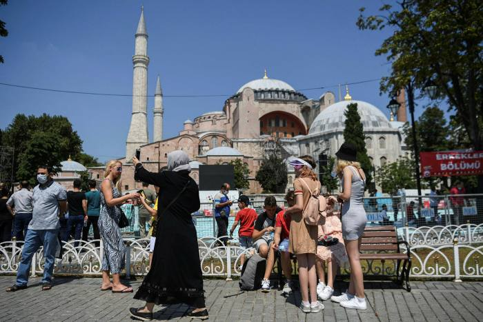 Tourists at Hagia Sophia in Istanbul. Turkey has welcomed the easing of travel restrictions around Europe