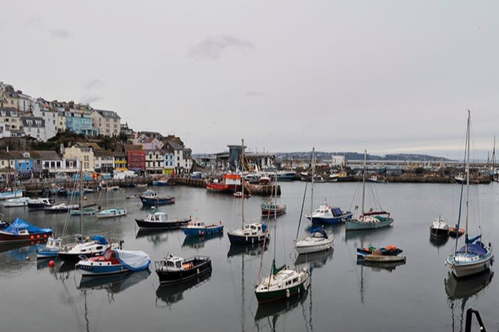 The harbour in Brixham, a fishing town in Devon, southwest England, in March 2018. The industry accounts for 0.1 per cent of the UK economy, yet the word 'fish' appears 368 times in the new agreement, compared to 90 for financial services