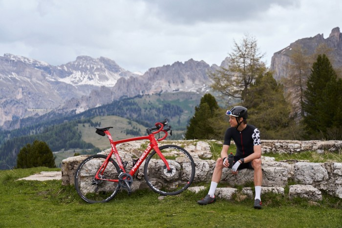 The author on the Sellamassif, with the Val Gardena valley behind
