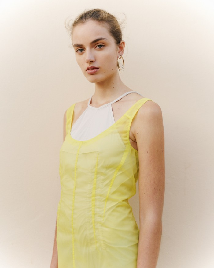 Sportmax organza double-layered dress, £705. Completedworks gold vermeil earring, £250 for pair