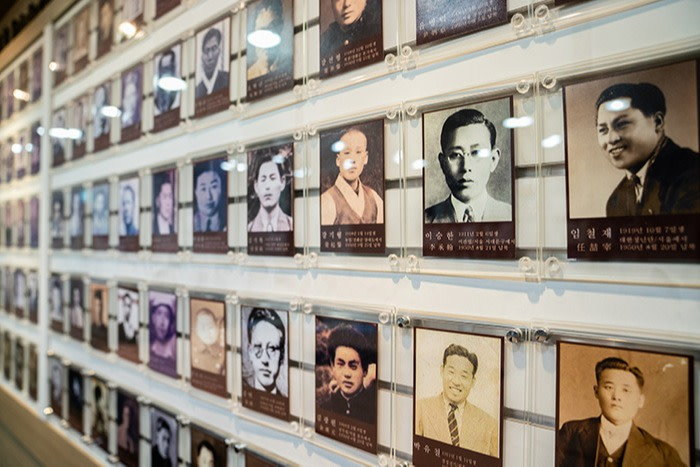 Photos of those missing after the Korean War on the wall of the Korean War Abductees' Family Union