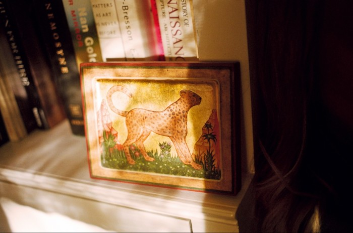 The picture of a leopard in gold leaf made for Garnett by a friend who paints Russian icons
