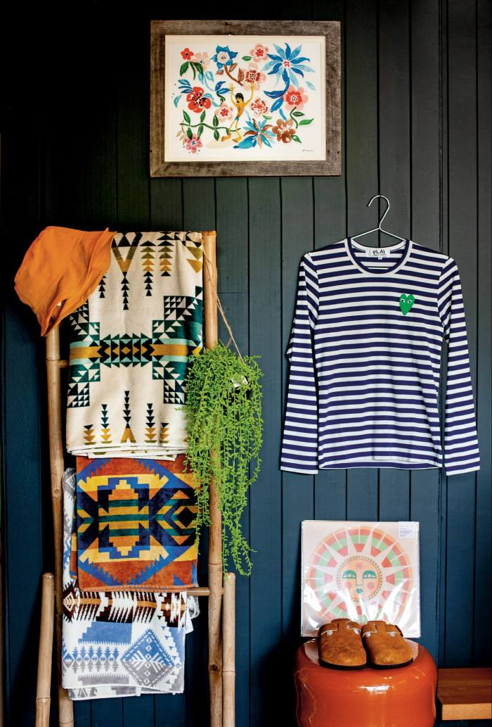 Michelle's latest edition features a Comme des Garçons Play striped T-shirt, £ 95, Pendleton towels, £ 65 each, Birkenstock Boston sheepskin clogs, £ 135, and a framed Aloha to Zen print (above of the t-shirt), £ 150