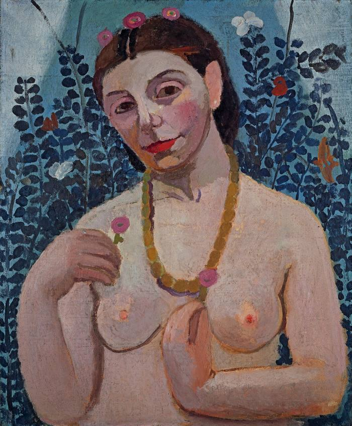 An oil painting of the nude upper half of a woman