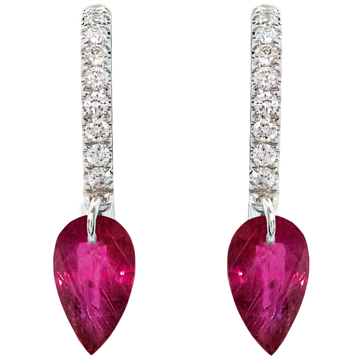 Raphaele Canot white-gold, diamond and ruby earring, £1,880 for pair, from Dover Street Market
