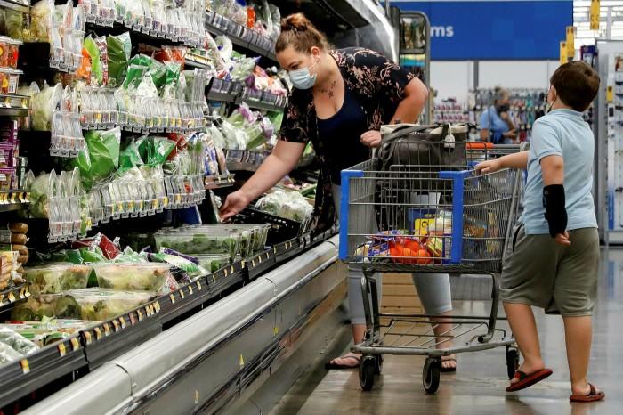 Shoppers wear masks in a Walmart store in Bradford, Pennsylvania