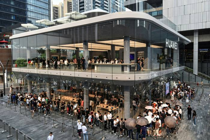 A newly opened Huawei flagship store in Shenzhen in China's southern Guangdong province last September
