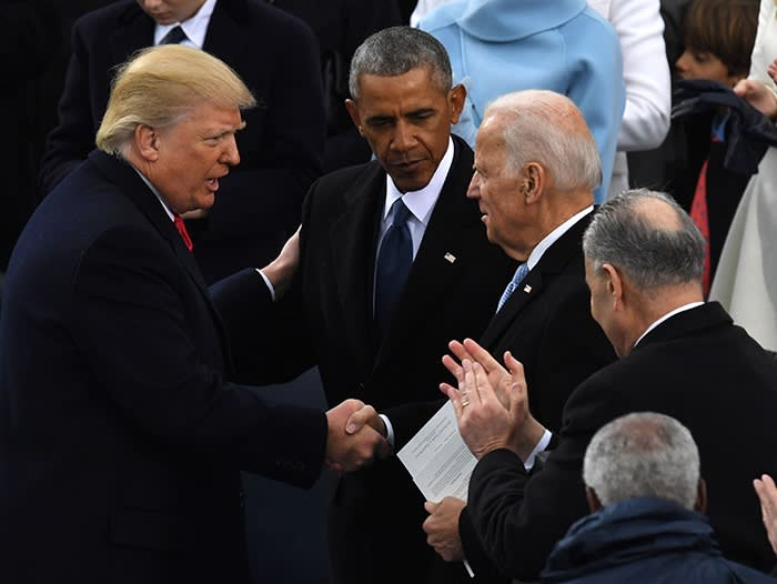 Alongside Barack Obama after Donald Trump was sworn in as president in Washington, DC, January 20 2017. 'The thing that Biden most likes is what Obama liked the least – the personal stuff,' says one of Obama's former aides