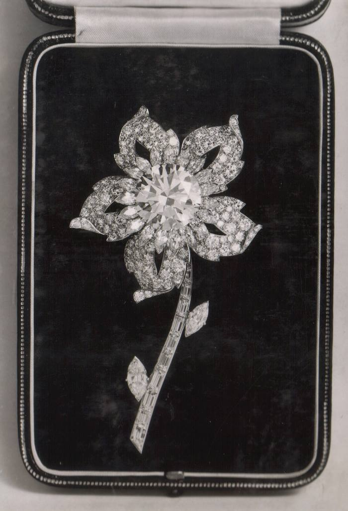 The platinum and diamond Williamson brooch, with its 23ct pink central diamond