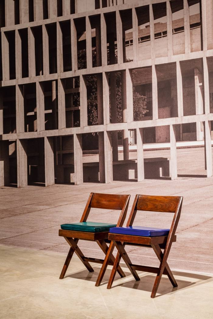 Pierre Jeanneret Library chairs upholstered in Berluti Venezia leather at Art Basel Miami Beach in December 2019
