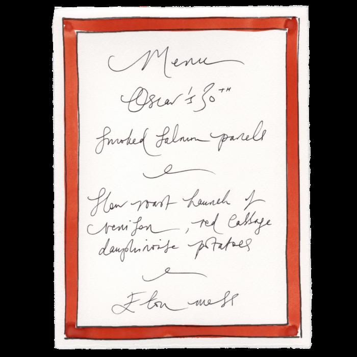 Scribble & Daub handpainted menu card, from £6.50