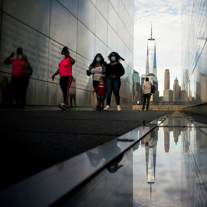 The Empty Sky Memorial with The One World Trade Center seen in the background. New York has managed not only to contain the virus but to keep it suppressed