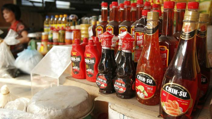 Masan's products are displayed at a market in Hanoi