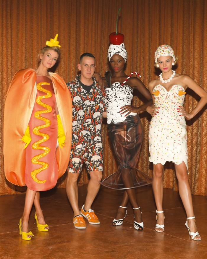 Looks inspired by Moschino resort '22 food by brand creative director Jeremy Scott (second from left)