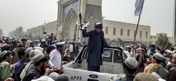 Taliban patrol in Kandahar, Afghanistan, 15 August 2021.