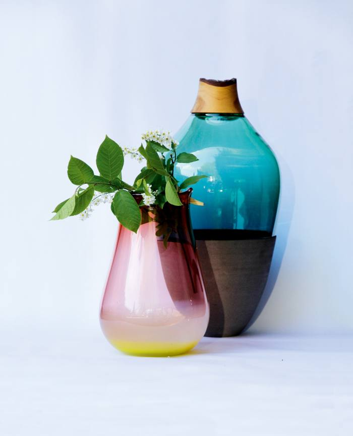 Pia Wüstenberg Heiki vase, €1,300, and Transformed Stacking Vessel, €1,690, from utopiaandutility.eu