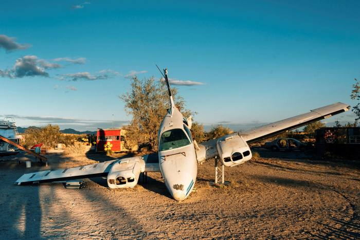 An abandoned airplane. 'Everything we have here has been built out of trash.'