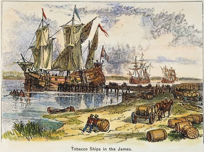 A coloured engraving of English tobacco ships loading in the James River, Virginia, in the 17th century