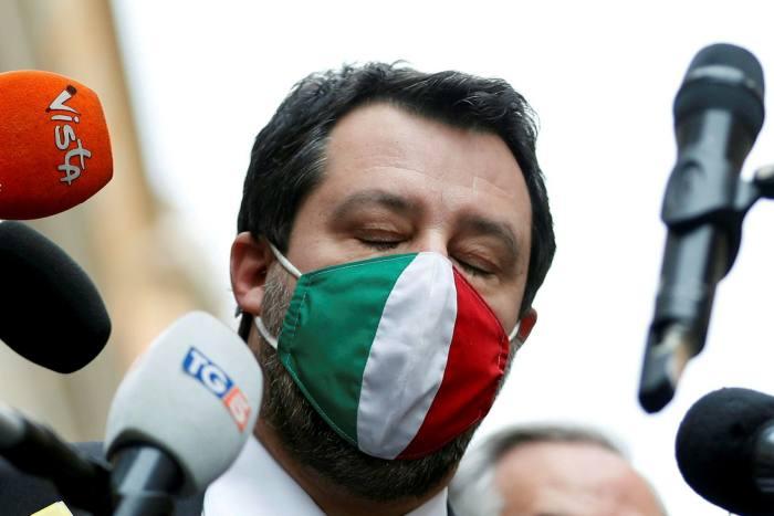Matteo Salvini speaks to the media