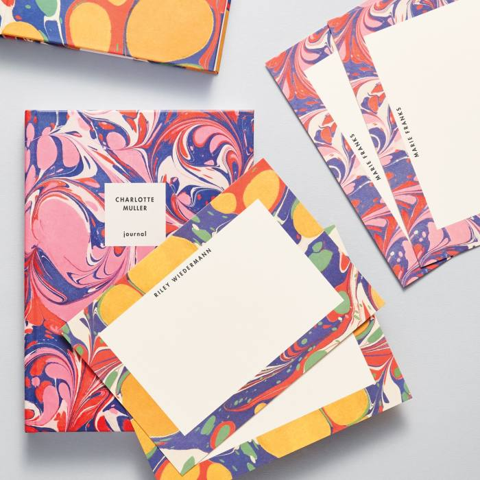 Papier personalised Marble notebook, £19.99, and notecards, from £20 for 10