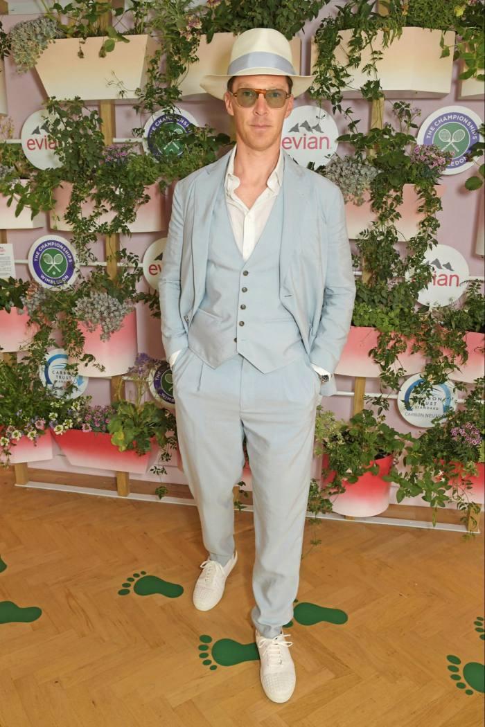 Benedict Cumberbatch attended Wimbledon in a pale blue suit, 2021