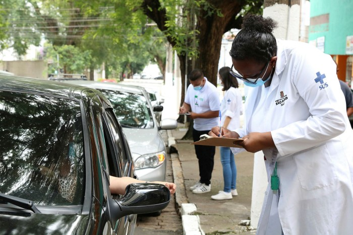 A vaccination centre in São Paulo, Brazil. The country has had the world's highest death toll after the US