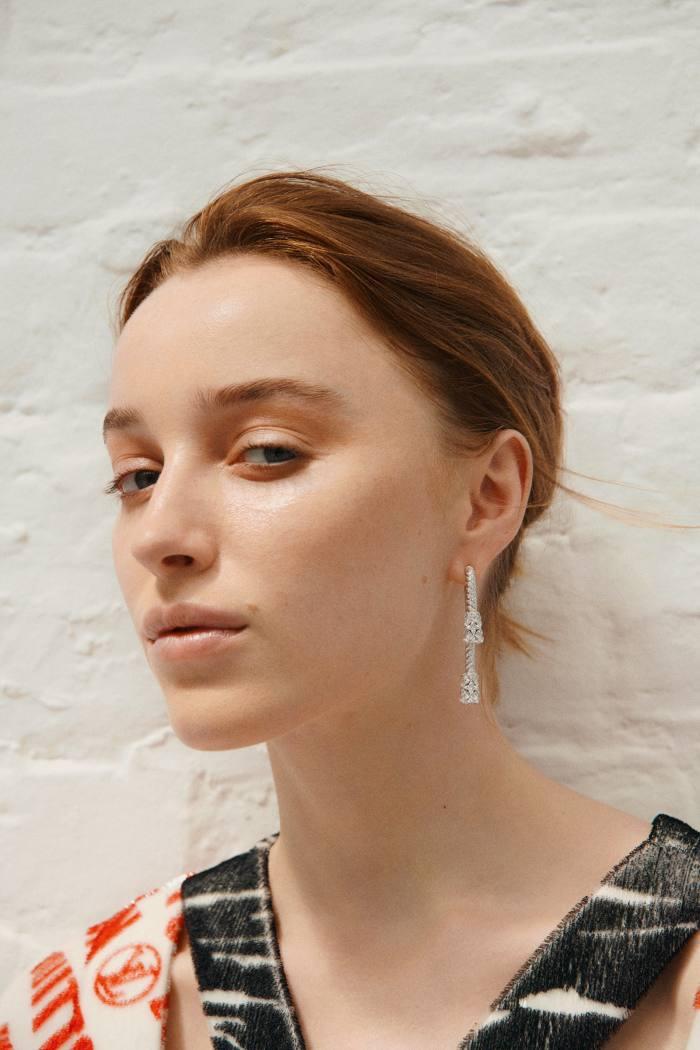 Louis Vuitton silk/polyamide dress, €4,500, andwhite-gold and diamond L'ElanVital earrings