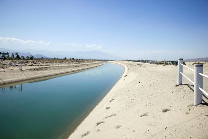 The Coachella Canal, which irrigates the swimming pools and golf courses of Palm Springs and the crops of the Coachella Valley