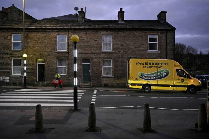An online order from Morrisons supermarket in Marsden, northern England, in April, during the nationwide lockdown