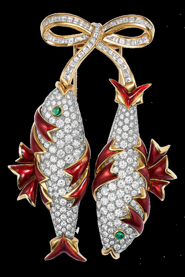 Tiffany gold, platinum, diamond, emerald and enamel Twin-Fish clip, POA