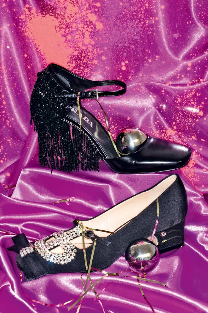 Prada leather and bead pumps, £1,410. Gucci satin, grosgrain and crystal pumps, £970