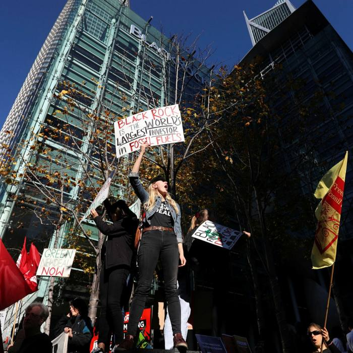 Climate protesters outside the BlackRock offices in San Francisco. After years of criticism over alleged inaction, BlackRock in January revealed plans to put climate change at the centre of its investment process